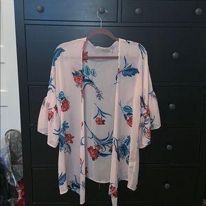 Flower bell sleeve kimono